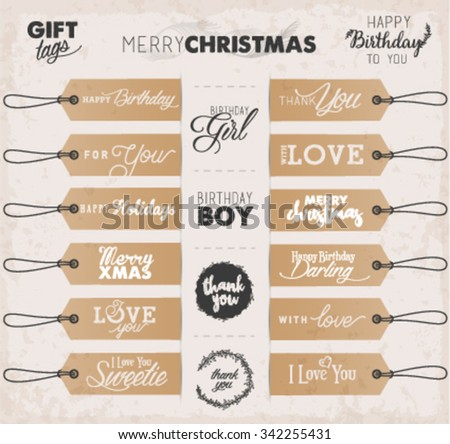 Calligraphic Holiday, Christmas and Birthday Gift Tags in Vintage Style - stock vector