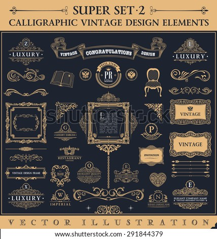 Calligraphic icons vintage elements. Vector baroque logo set, Signs and Symbols. Design and page decoration. Border frames collection royal ornament - stock vector
