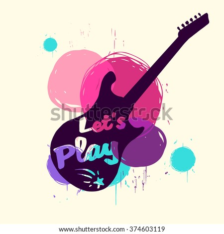 "Calligraphic inscription ""Let's play"" with guitar. Music stamp / logo / badge / poster. Vector design element - stock vector"