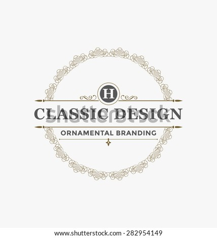 Calligraphic Label Design Template - Classic Ornamental Style. Elegant luxury frame with typography - Ideal logo for restaurant, hotel, cafe and other businesses with classic corporate identity visual - stock vector