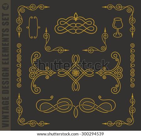 Calligraphic labels elegant set. Vector baroque frames. Vintage design elements and page decoration. Border frames collection royal ornament - stock vector
