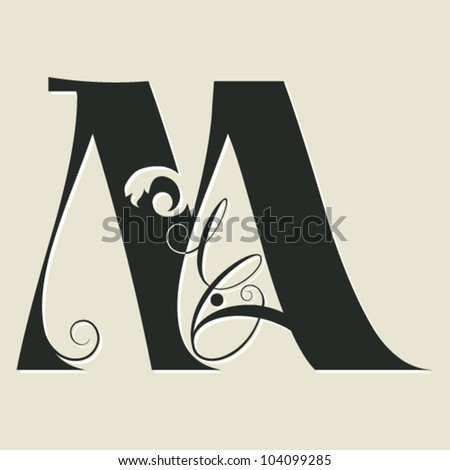 Calligraphy Letters W Calligraphic letter m - stock