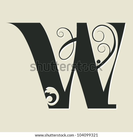 Calligraphy Letters W Calligraphic letter w - stock
