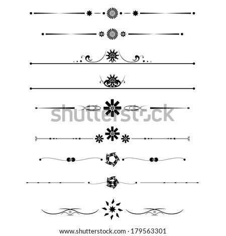 Vector Set Calligraphic Design Elements Page Stock Vector
