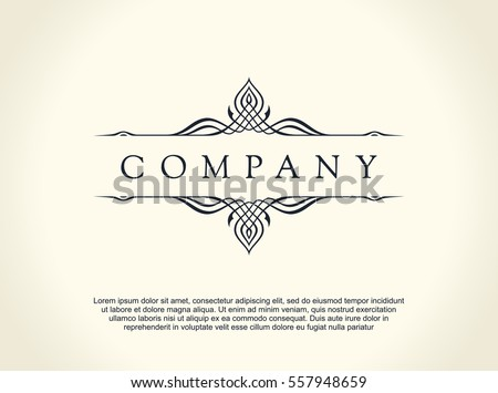 Calligraphic Luxury line logo. Flourishes elegant emblem monogram. Royal vintage divider design. Black symbol decor for menu card, invitation label, Restaurant, Cafe, Hotel. Vector line illustration