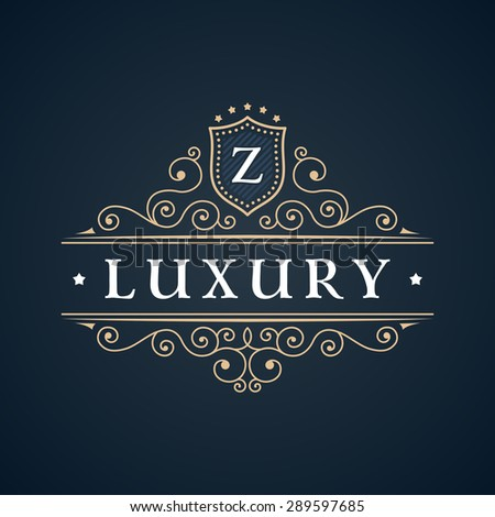 Calligraphic Luxury logo. Emblem elegant decor elements. Vintage vector symbol ornament Z - stock vector