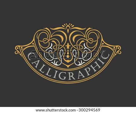 Calligraphic Luxury logo. Emblem ornate decor elements. Vintage vector symbol ornament - stock vector