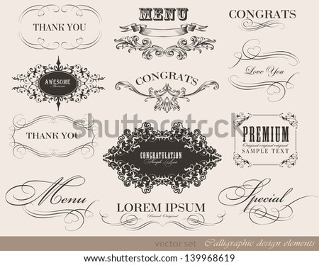 calligraphic menu design elements and page decoration/ vector set