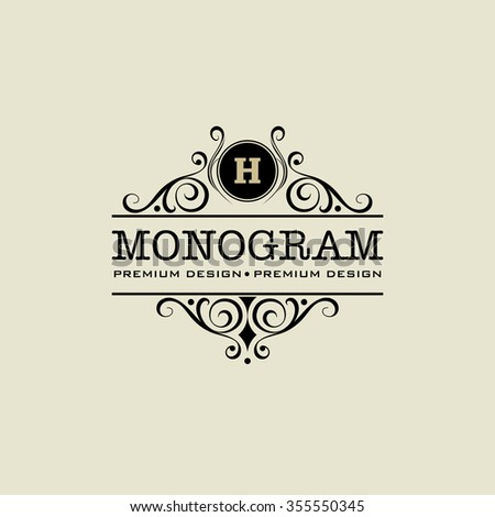 calligraphic monogram emblem, logo design vector illustration - stock vector