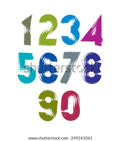 Calligraphic numbers drawn with ink brush, colorful vector numbers collection. - stock vector