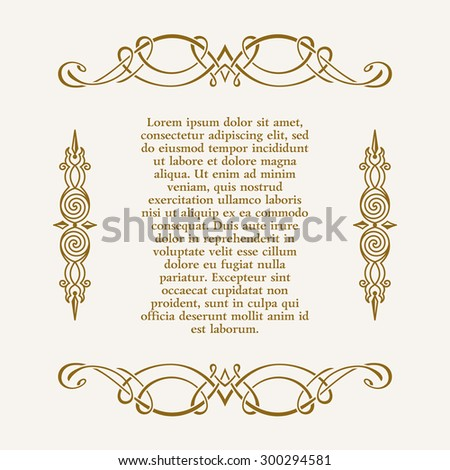 Calligraphic ornament and page decoration. Vector vintage illustration frame for text - stock vector