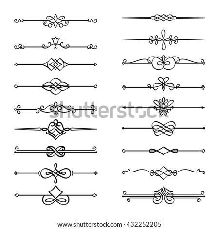 Calligraphic page dividers. Vector flourishes page decoration vignettes - stock vector