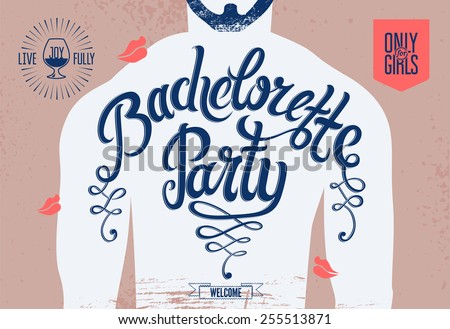 Calligraphic poster for bachelorette party with a tattoo on a man's body. Vector illustration.  - stock vector