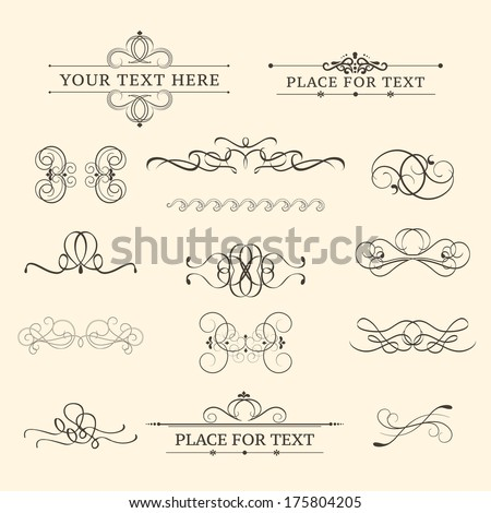 Calligraphic retro elements - stock vector