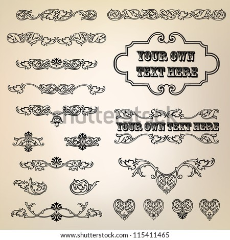Calligraphic retro elements and page decoration. Vintage Vector Design Ornaments