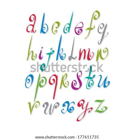 Calligraphic script, vector alphabet letters set, vector font. - stock vector
