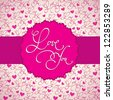 calligraphic seamless background with 'love you' hand lettering calligraphic label. EPS10. - stock vector