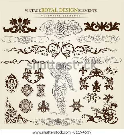 calligraphic set - stock vector