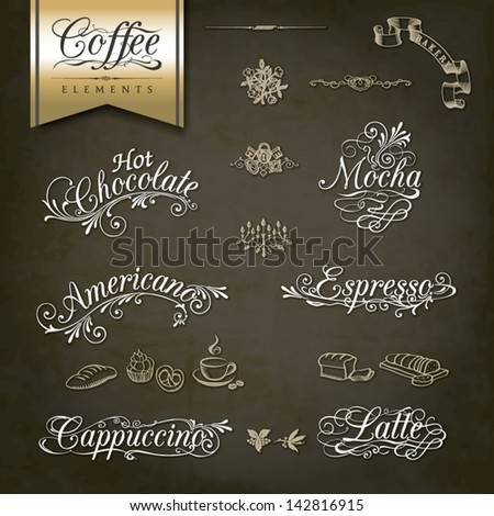Calligraphic titles and symbols for Coffee menu and design - stock vector