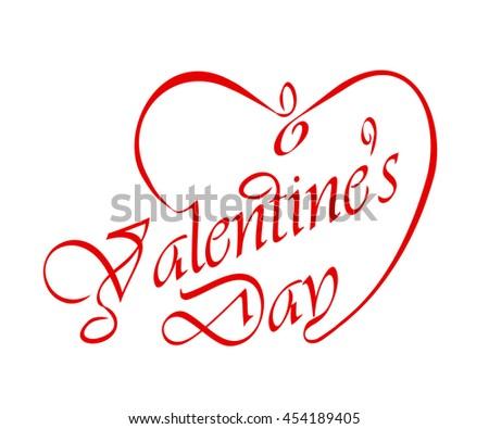 Calligraphic Valentine's headline  - stock vector