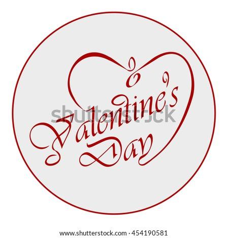 Calligraphic Valentine's headline with heart - stock vector