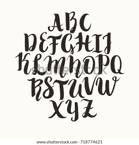 Calligraphic Vector Font Lettering Latin Alphabet Capital Letters Caps Lock Is On