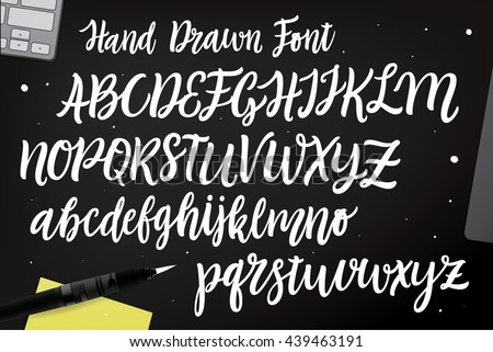 Calligraphy alphabet trendy hand written brush vectores en stock