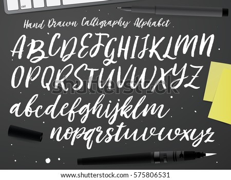 Calligraphic Vector Script Font Handwritten Brush Style Modern Calligraphy Cursive Typeface Hand Lettering And