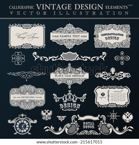 Calligraphic vintage elements and page decor. Vector frame ornament set - stock vector