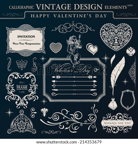 Calligraphic vintage ornament set. Happy valentines day design elements - stock vector