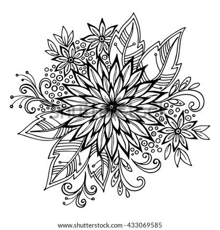 Calligraphic Vintage Pattern, Symbolic Flowers and Leafs, Abstract Floral Outline Ornament, Black Contours Isolated on White Background. Vector - stock vector