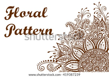 Calligraphic Vintage Pattern, Symbolic Flowers and Leafs, Abstract Floral Outline Ornament, Brown Contours Isolated on White Background. Vector - stock vector