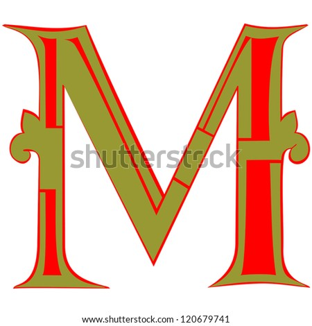 Calligraphic Vintage Red  Isolated M Letter on White Background, Old Decor, Vector Illustration - stock vector
