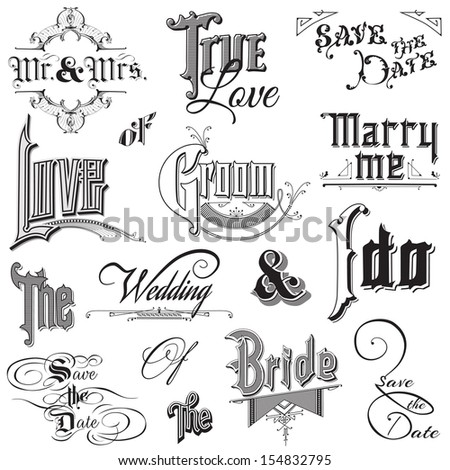 Calligraphic Wedding Elements - for design and scrapbook - in vector  - stock vector