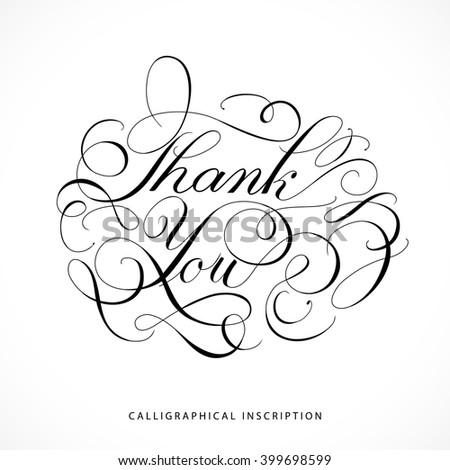 Calligraphical inscription Thank you - stock vector