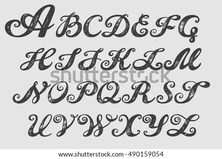 Calligraphy Alphabet Typeset Lettering Capital Letters Copy Book Hand Font