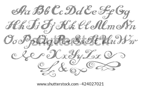 Calligraphy alphabet typeset lettering. Hand drawn alphabet. Capital and lower-case letters. Copy-book hand font. Hand drawn sketch of ABC letters in old fashion vintage style. Calligraphy letters set - stock vector