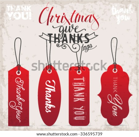 Calligraphy Christmas Thank You Gift Tags in Vintage Style