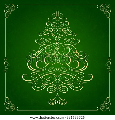 Calligraphy Christmas tree on green background. Vector illustration - stock vector