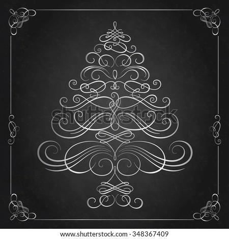 Calligraphy Christmas tree. Vector illustration - stock vector