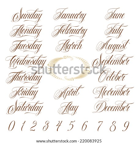 Calligraphy Days of the week, Months of the year and Numbers Set - stock vector
