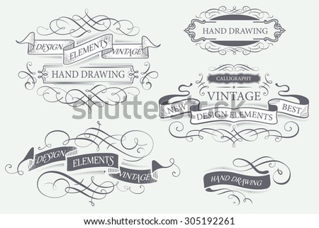 Calligraphy design elements and banners