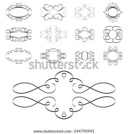 calligraphy design elements, ornaments page templates labels EPS10 - stock vector