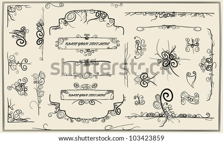 Calligraphy doodle design elements and page frame decoration - stock vector