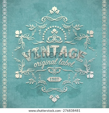 calligraphy floral retro vintage label design - stock vector