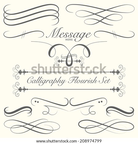 Calligraphy Flourish Set - stock vector