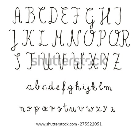 Calligraphy fonts. Vector alphabet. Hand drawn letters. Letters of the alphabet written with a pencil.  - stock vector