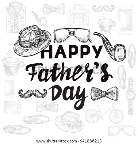 Calligraphy lettering happy fathers day mens stock vector 641888524 calligraphy lettering happy fathers day with mens accessories sciox Image collections
