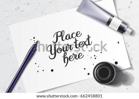 Calligraphy mockup brush pen black ink stock photo photo vector