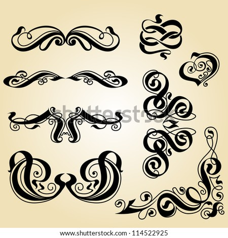 calligraphy ornament. Set of decorative calligraphic elements. - stock vector